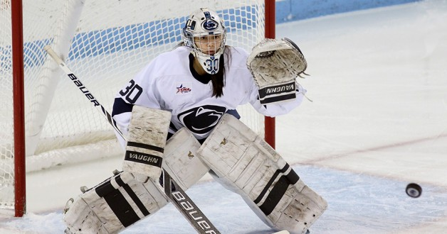 Penn State goaltender Celine Whitlinger (30) against Lindenwood during the College Hockey America Tournament 1st round playoff game on Feb. 27, 2015. No. 4 seed Penn State shoutout No. 5 seed Lindenwood 1-0 in the CHA best-of-three series. Photo/Craig Houtz